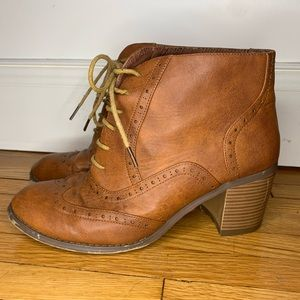 Western Style Booties High Heel Boots Lace Up